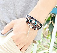 Unisex's Wooden Bead  Feather Leather Braided Bracelets