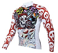 PaladinSport Men's Spring and Summer and Autumn Style 100% Polyester Long Sleeved Cycling Jersey(Skull)