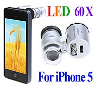 Microscopio Mini 60X con 2-Iluminación LED Moneda detección de la luz UV para Iphone 5/5S (3 * LR1130)