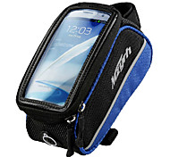 MZYRH 4.0 Inch Black and Blue Frame Phone Bag with Transparent PVC Touchable Screen