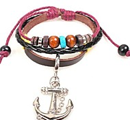 Unisex's Anchor Personality  Leather Braided Bracelets