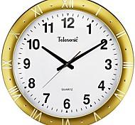 "Telesonic™ 20""H Circular Shape Metallic Raised Roman Scale Super Mute Wall Clock"