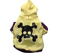 "Cotton Lndia ""Skull"" Hooded T-shirt (Yellow)"