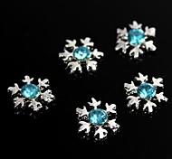 10шт giltter голубые стразы снежинка 3d сплава украшения искусства ногтя