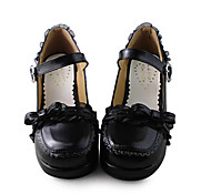 Handmade Cute Girl Style Black PU Leather 8.7cm High-heel Sweet Lolita Shoes