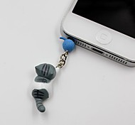 Gray Cat Catch The Bulb Shaped 3.5mm Earphone Jack Anti-dust Plug