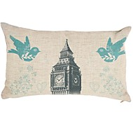 "Createforlife ® 12 ""x 20"" Rectangle Vintage Big Ben Oiseaux coton / lin coussin décoratif"