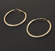 Fashion 6cm Diamanted Circle Shape Hoop Earring(1 Pair)
