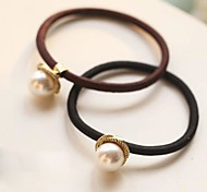 A Pearl Metallic Rotating Rubber Band Hair Ties