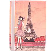 A Torre Eiffel eo Caso corpo Menina PU completa com suporte para iPad Air