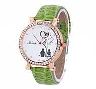 Coway Romance Lovers Unisex's Round Golden Dial Green Leather Band Quartz Analog  Waterproof Wrist Watch