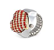 Frauen-Heart-Shaped Metall Quarz Analog-Ring-Uhr (1 St.)
