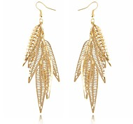 (1 Pair)European (Golden leaves) Golden Alloy Drop Earrings