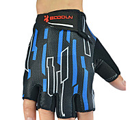 BOODUN Men's Black and Blue Microfiber Bike Bicycle Half Finger Cycling Gloves