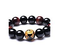 tigerseye naturale agata nera perla rotonda braccialetto per uomini (tallone diametro 16 mm)