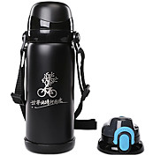 Mountainpeak 800ml Black Stainless Steel Warm Keeping Cycling Water Bottle