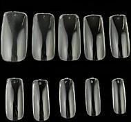 10x50pcs tamanho mixs tansparent completo Nail Art Tips
