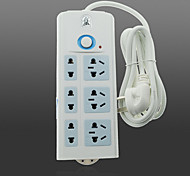 BULLET TS-008 6-Outlet Flame-Retardant Material LED Power Strip with Switch(4.8m)