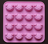 16 Hole Pig Shape Chocolate Molds Cake Mold,Silicone 17.5×17.5×1.5 CM(6.9×6.9×0.6 INCH)