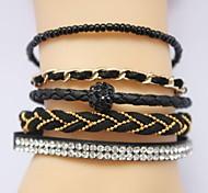 Multilayer Zircon Handmade Leather Bracelet(Assorted Colors)