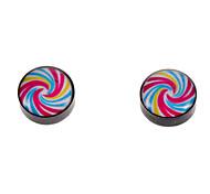 magnete di modo 1 centimetro lollipop modello orecchini nero (1 coppia)
