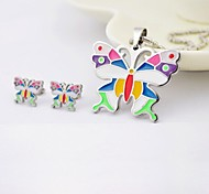Fashion Color Butterfly Titanium Steel Necklaces and Earrings Jewelry Sets