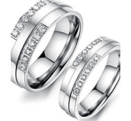 Vintage Lovers Stainless Steel Simple English Couple Rings (2 Pcs)