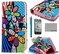 COCO FUN ® Sun colorido de la flor de la PU Leather Case cuerpo completo con protector de pantalla, Stand and Stylus para iPhone 4/4S