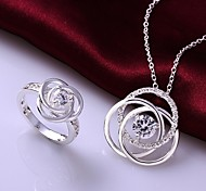 Vintage Hollow Out Flower Jewelry Set(Necklace+Ring)(1 Set)