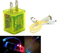 LED Flashing Light Dual USB 2-Port Charger Adapter PLUS Smiling Face 3in1 USB Cable for Samsung/iPhone/iPad/HTC