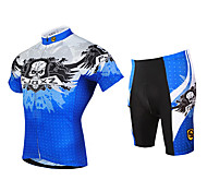 FJQXZ Men's Skull Design Breathable Mesh Jersey Lycra Shorts Summer Short Sleeve Cycling Suit - Blue+White