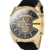 Men's Military Style Gold Case Leather Band Quartz Wrist Watch (Assorted Colors)
