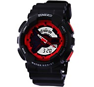 Time100 Boys&Girls Multifunction Round Dial PU Strap LED Dual-time Display  Sport Digital Watch