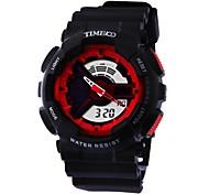 time100 Jungen&Mädchen Multifunktion runden Zifferblatt PU-Band Dual-LED-Zeitanzeige Sport digitale Uhr