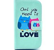 сова нужна любовь шаблон PU кожаный чехол с подставкой для Samsung Galaxy Ace 3 s7272 / s7275