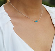 Shixin® Fashion Two Blue Resin Silver Pendant Necklace(1 Pc)