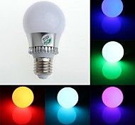 RGB Light LED Bulb With Remote Controller - White Silver (AC85~265V)150lm 3W E27