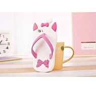 Slipper-white 3D Cute Cartoon Soft Silicone Case for iPhone 5/5S