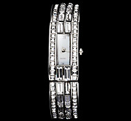 Women's Fashion Diamante Square Dial Steel Band Quartz Wrist Watch