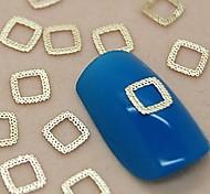 200шт полый квадратный дизайн кружева золотой металл ломтик ногтей украшения