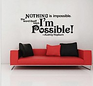 JiuBai™ Nothing Is Impossible Inspiration Quote Home decoration Wall Sticker Wall Decal