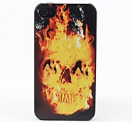 Skull On Fire Style Protective Back Case for iPhone 4/4S