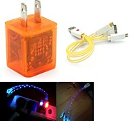 conduit de lumière double usb 2 ports adaptateur chargeur clignote, plus souriant câble USB 3in1 de visage pour samsung / iphone / ipad / costume de r