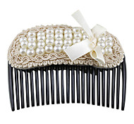 Fashion Pearl With Bowknot Lace Hair Combs Random Color