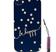 Blue Mandala Flowers Pattern Hard Case & Touch Pen for iPhone 4/4S