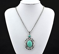Toonykelly® Vintage Look Antique Silver Turquoise Necklace(Green)(1 Pc)