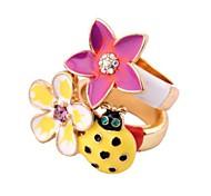 Lureme®Crystal Flower Seven-Spotted 2/Set Ring