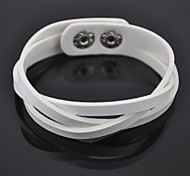 Toonykelly® Fashionable Leather with Button Bracelet(White)(1 Pc)