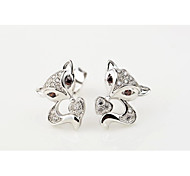 I FREE®Fashion Gift S925 Sterling Silver Mosaic Diamond Fox Shape Stud Earrings 2 pcs (1 pair)