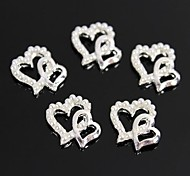 10pcs Pearl Double Heart Design 3D Alloy Nail Art Decoration